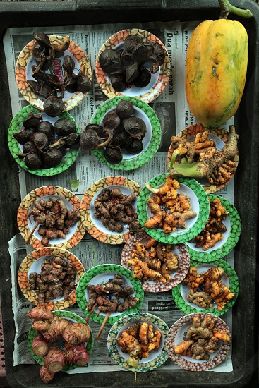 asia borneo brunei asia food root roots spices ingredients plate portion southeastasia market photo