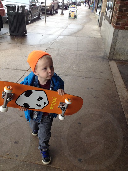Colt and his new skateboard. photo