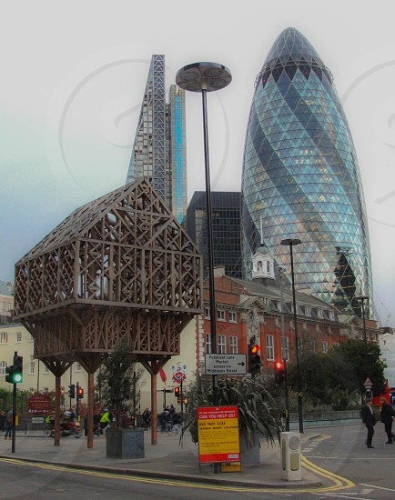 wooden hut in the City photo