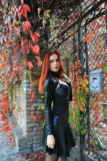Red head Gothic girl among autumn leaves photo
