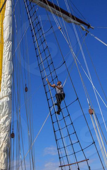 Old tall ship saiing photo