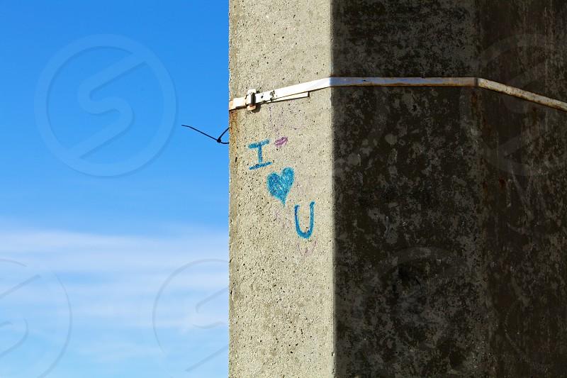 blue i heart you wall graffiti photo