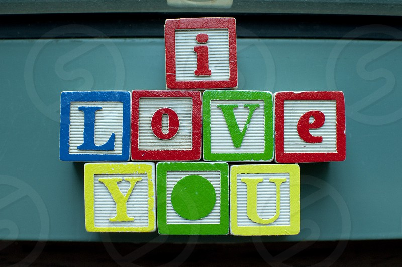 written on colorful toy blocks photo