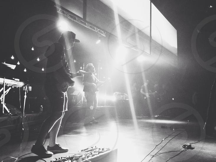 black white band on stage photo