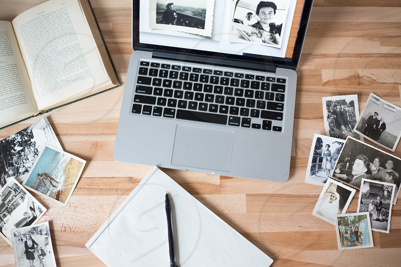 Old vintage pictures and MacBook photo