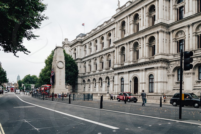 Whitehall street in London a cloudy day with Cenotaph War Memorial and Foreign and Commonwealth Office photo