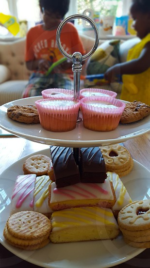 Afternoon cakes and biscuits for a children's party. photo