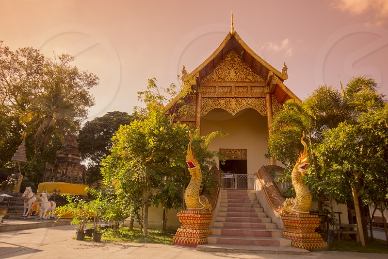 the wat Doi Ngam Muang in the city Chiang Rai in North Thailand. photo