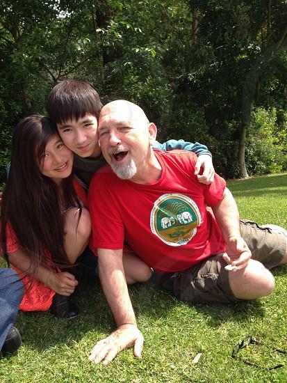 Grandpa and grandchildren  photo