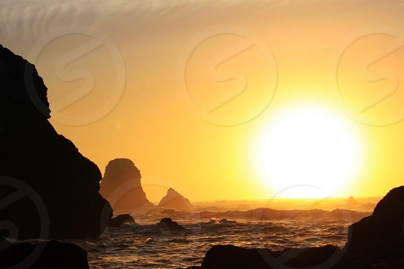 Sea landscape of California coast at sunset Pacific Ocean Mendocino The Lost Coast photo