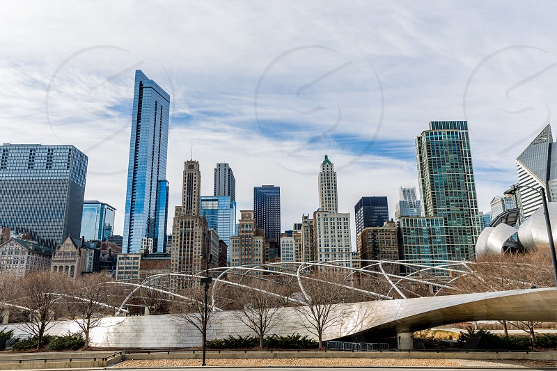 View from the winding BP Bridge. Spans from Maggie Daley Park back into Millennium Park.  photo