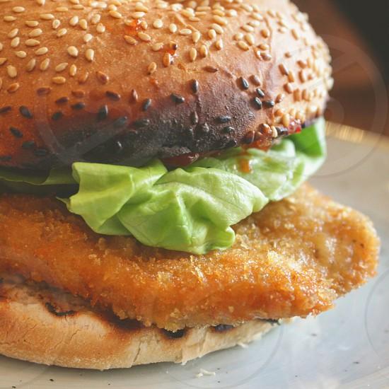 chicken burger close up photography photo