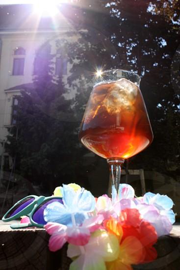 iced tea glass drink sunshine summer photo