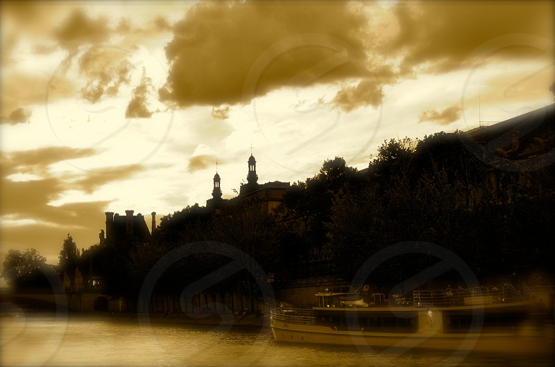 Sunset on Seine River Paris photo