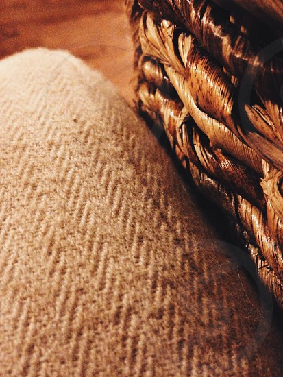 beige knitted textile photo