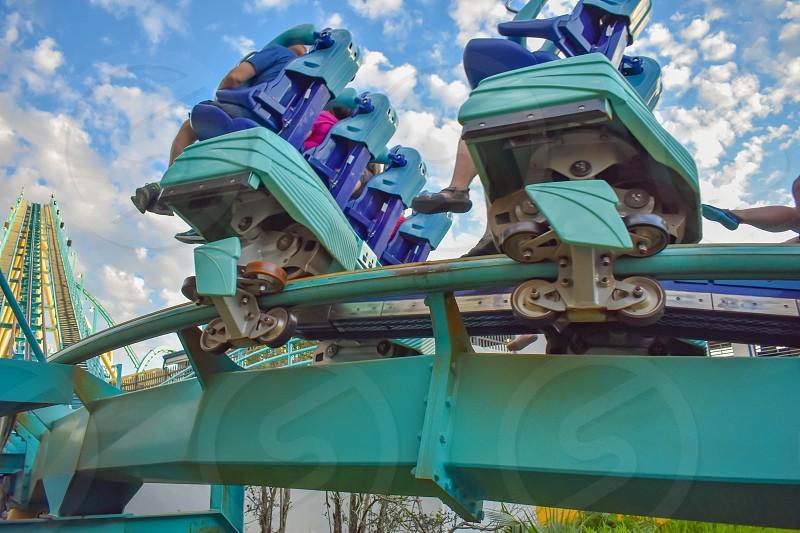 Orlando Florida. February 25  2019 People having fun Kraken rollercoaster at Seaworld Marine Theme Park (3) photo