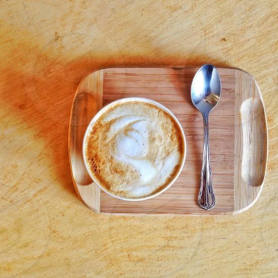 Coffee capuccino wood photo