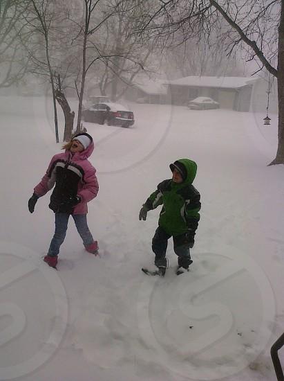 Winter snow blizzard fun kid child children snow day play photo