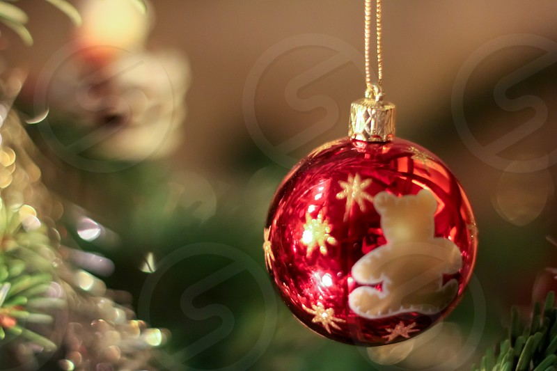 a red Christmas ball next to a tree photo
