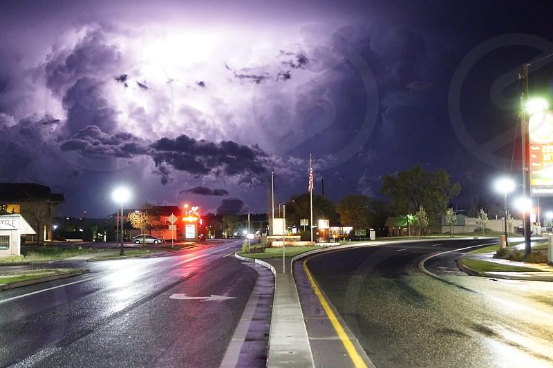 Road trip lightning storm no filter Oregon  photo
