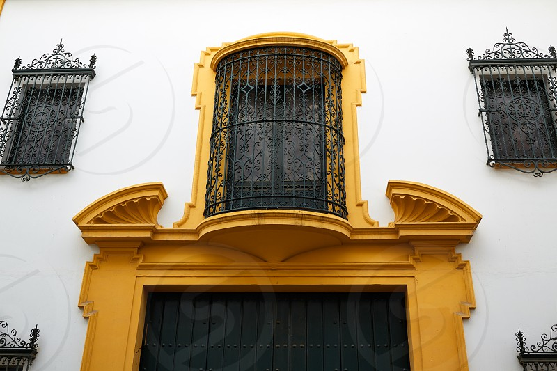 tipycal facade in seville andalucia spain photo