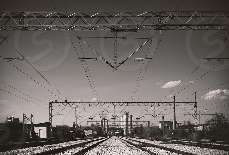 Abstract of an electricity installations over railway.  photo
