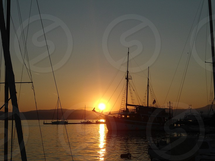 Sunset on the harbour photo