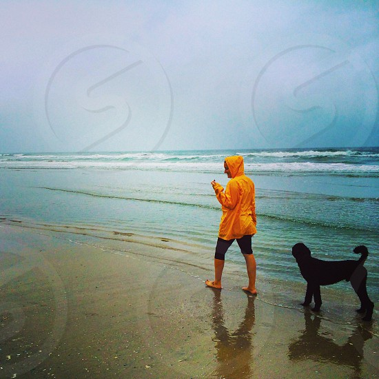 person in yellow hoodie walking on the seashore with a black coated medium dog photo