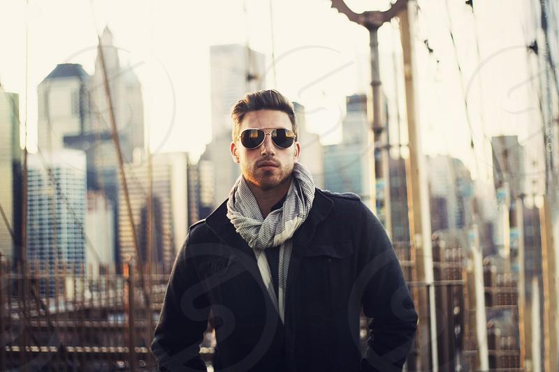 Cameron on the Brooklyn Bridge in NYC photo