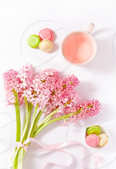 Still life of spring flowers French macarons and rose tea photo