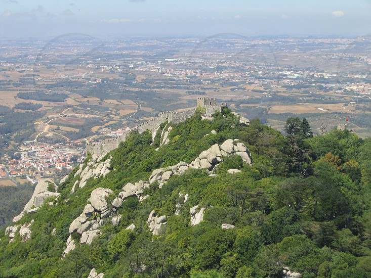 Mountain area of Sintra in Portugal. Aerial view over the forest and rocks. photo