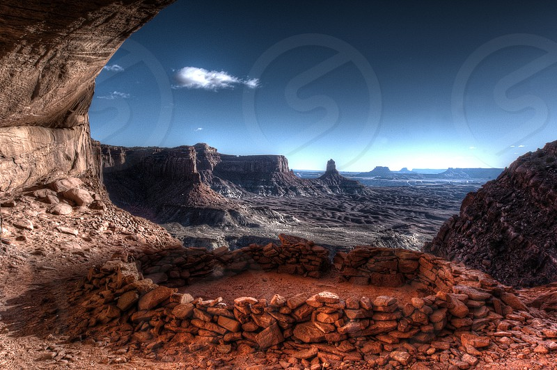 False Kiva archeological site overlooking the valley in Canyonlands National Park. photo
