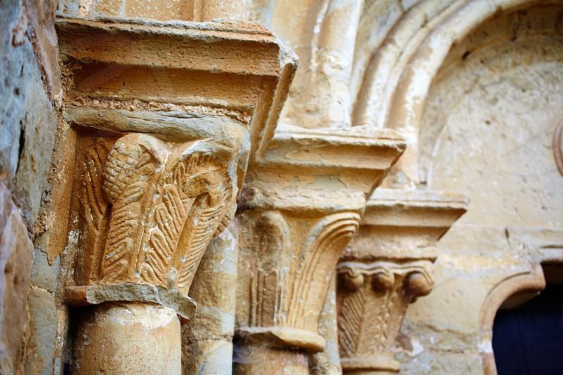 The way of Saint James church columns in Zariquiegui Navarra Spain photo