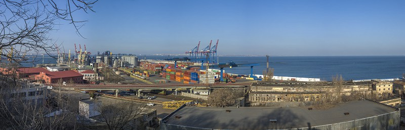 Odessa Ukraine - 06.14.2019. anoramic view of cargo port and container terminal in Odessa Ukraine photo