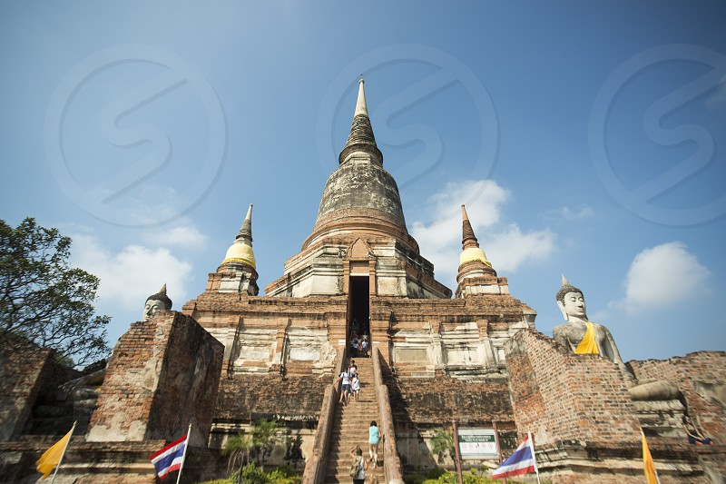 the Wat yai chai mongkhon in the city of Ayutthaya north of bangkok in Thailand in southeastasia. photo
