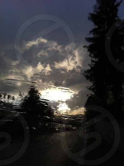 Rain from the car window photo