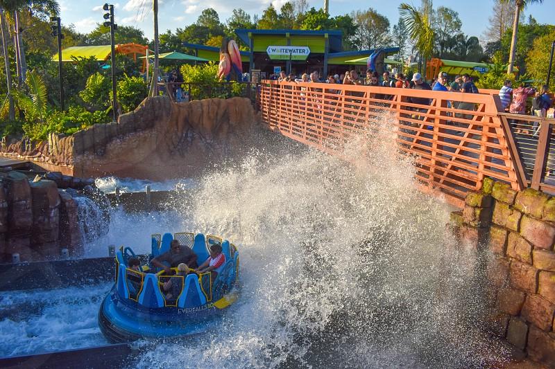 Orlando Florida. March 09 2019 People having fun Kraken rollercoaster at Seaworld Marine Theme Park (5) photo
