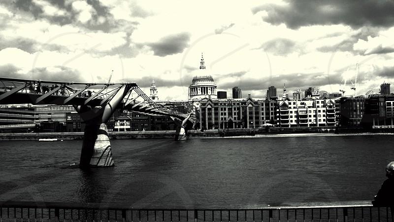Thames River Millennium Bridge Black and White photo
