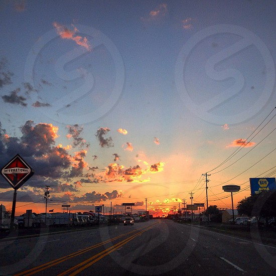 Highway to Hell. Sunset over the road in Columbia SC  photo