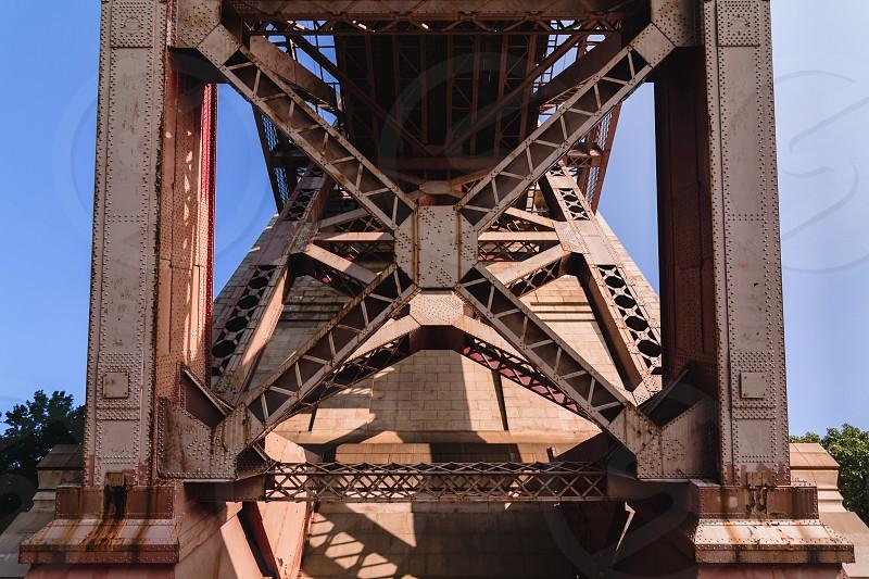 Steel structure from under a bridge. photo