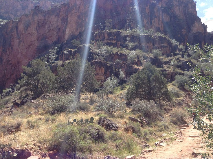 Rays of light on the trail photo