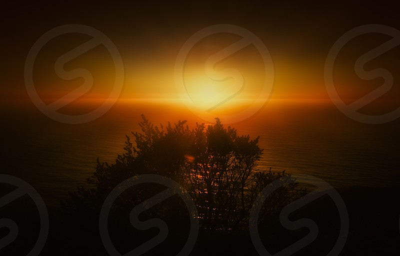 Sunset mood warm fine artsun light silhouette sea skyline photo