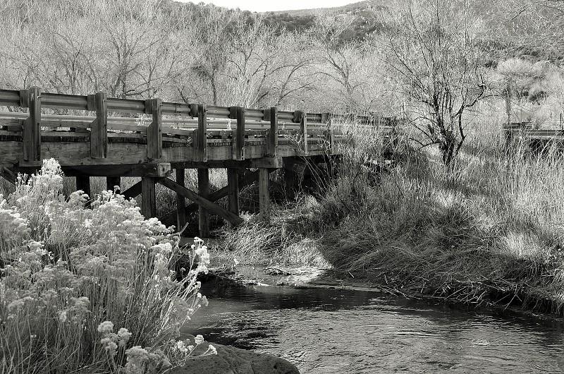 Old Bridge in black and white in the Jemez Pueblo New Mexico photo