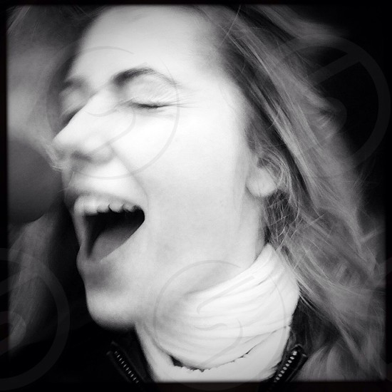 screaming girl black and white pic photo