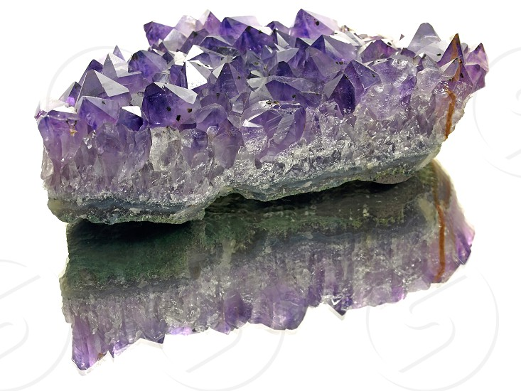 amethyst stone on a mirror photo