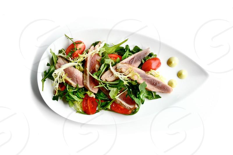Seared ahi tuna salad. photo