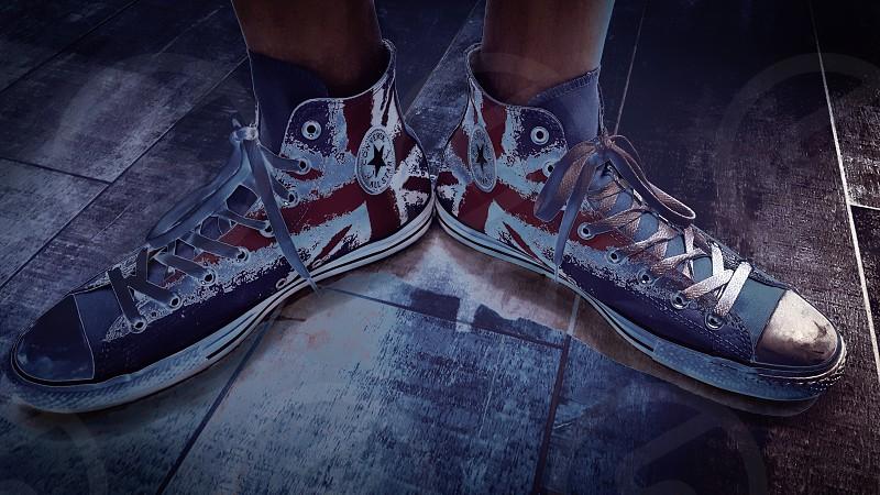 walking shoes displaying British flag photo