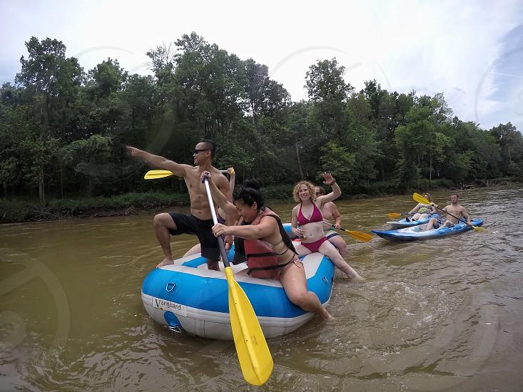 Friends water rafting fun adventure Indiana summer photo