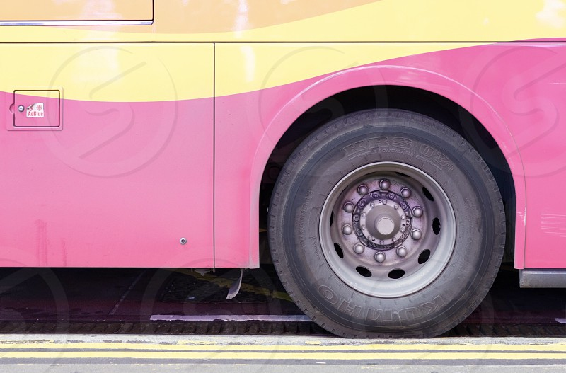 Colorful close up of a bus photo