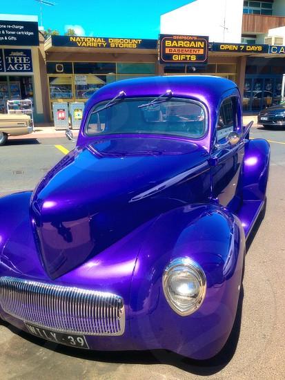 Blue classic car photo